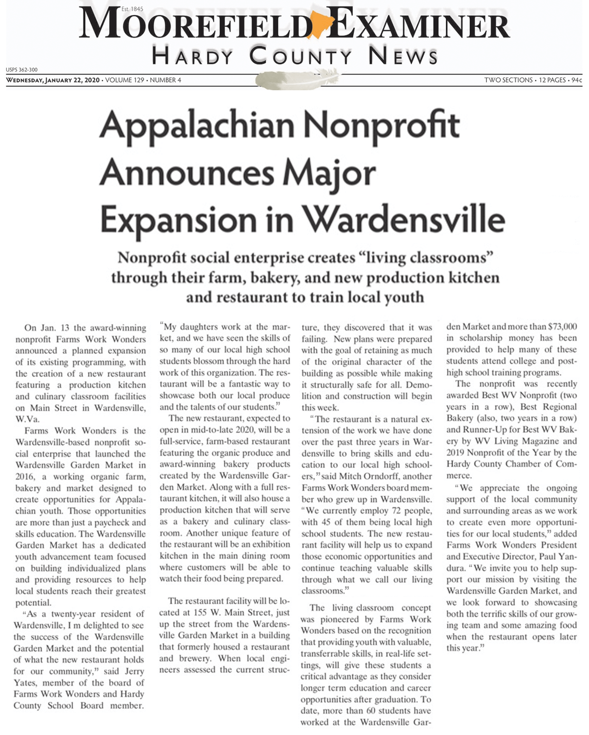 Appalachian Nonprofit Announces Major Expansion in Wardensville